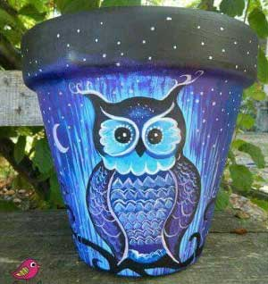 Owl Fine Art Hand Painted Flower Pots - Clay Pot Crafts