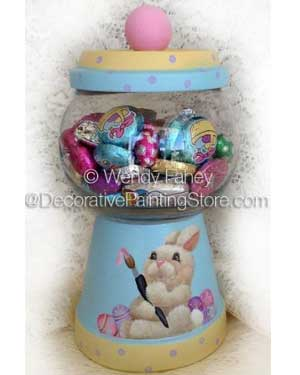 Painted Bunny Candy Jar - Clay Pot Crafts