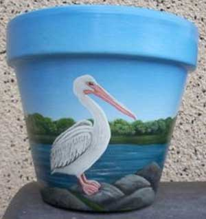 Pelican Fine Art Hand Painted Flower Pots - Clay Pot Crafts