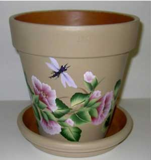 Pink Flowers and Dragonfly Fine Art Hand Painted Flower Pots - Clay Pot Crafts