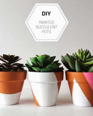 Pink and White Geometric Painted Planters - Clay Pot Crafts