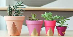 Pinks and Purples Geometric Painted Planters - Clay Pot Crafts