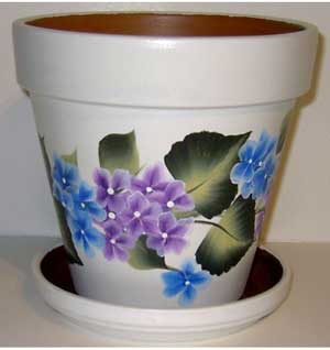 Purple and Blue Flowers Fine Art Hand Painted Flower Pots - Clay Pot Crafts