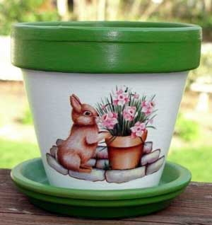 Rabbit Fine Art Hand Painted Flower Pots - Clay Pot Crafts