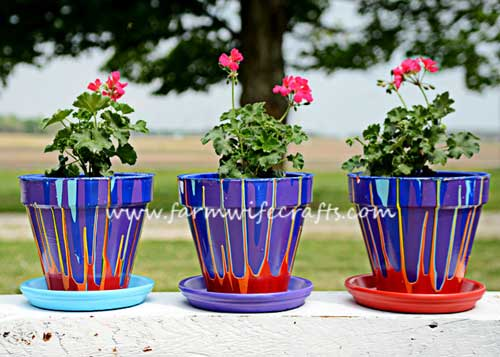 Rainbow Terracotta Drippy Pots - Clay Pot Crafts