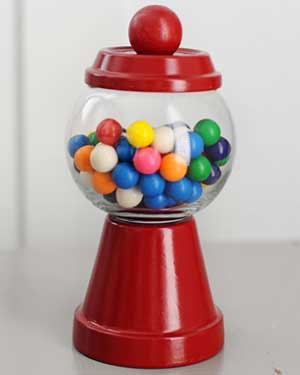 Red Candy Jar - Clay Pot Crafts