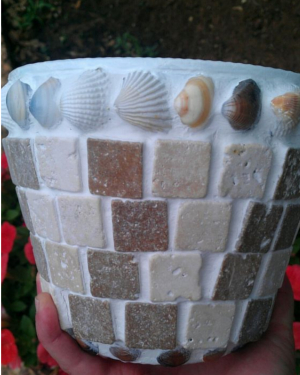 Sea Shells Mosaic Clay Pots - Clay Pot Crafts