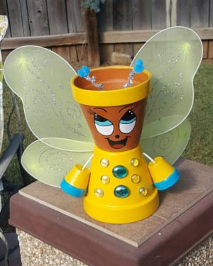 Cute Clay Pot Bumble Bee With Wings - Clay Pot Crafts