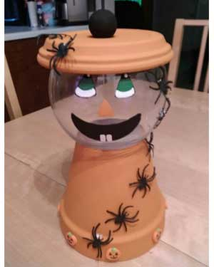 Spider Pumpkin Candy Jar - Clay Pot Crafts