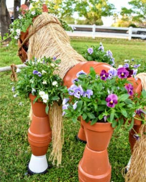 Steel Rod Clay Pot Horse Planter Back - Clay Pot Crafts