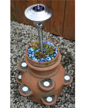 Strawberry Pot Solar Garden Lights - Clay Pot Crafts