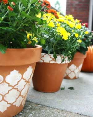 Symmetrical Stencils on Terracotta Pots