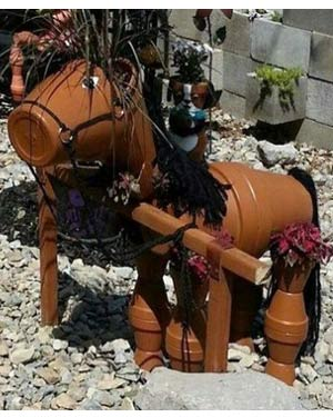 Tan Clay Pot Horse Planter - Clay Pot Crafts