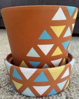 Triangles Geometric Painted Planters - Clay Pot Crafts