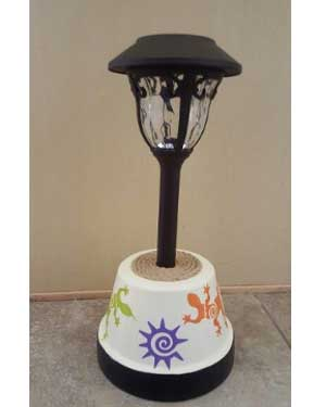 Tribal Solar Garden Lights - Clay Pot Crafts