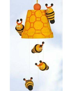 Windchimes Clay Pot Bumble Bee With Wings - Clay Pot Crafts
