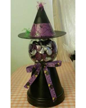 Witch Candy Jar - Clay Pot Crafts