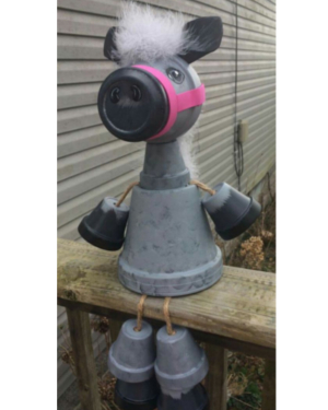Grey Clay Pot Horse - Clay Pot Crafts