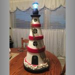 Netting and Starfish Clay Pot Lighthouse - Clay Pot Crafts