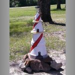 Red and White Spiral Clay Pot Lighthouse - Clay Pot Crafts