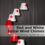 Red and White Spiral Wind Chimes - Clay Pot Crafts