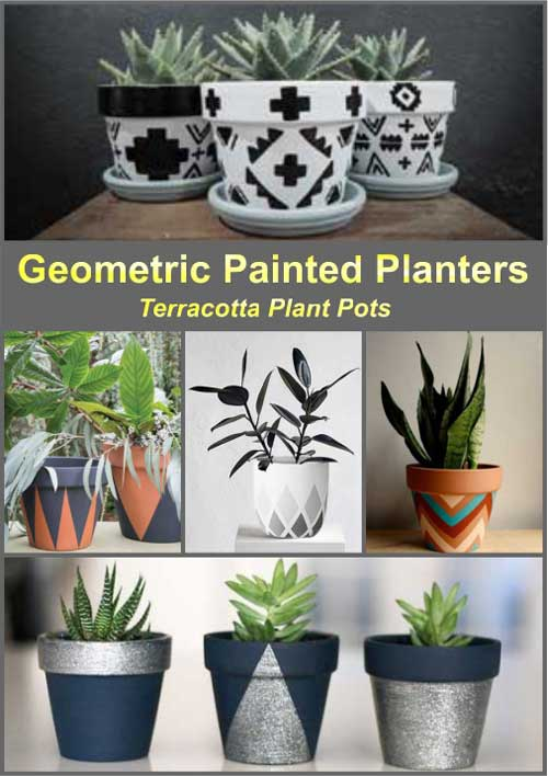 Geometric Painted Planters - Clay Pot Crafts